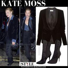 Kate Moss in black velvet jacket, blue polka dot shirt, black pants and black boots