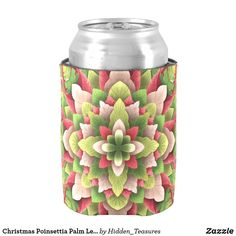 Christmas Poinsettia Palm Leaves Mandala Can Cooler Christmas Mandala, Christmas Poinsettia, Hand Warmers, Keep It Cleaner, Holiday Cards, 3 D, Palm, Make It Yourself