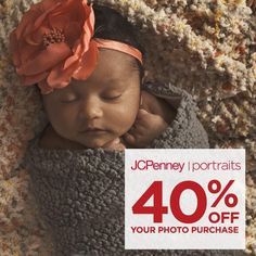 Take 40% off your photo purchase with our current in-studio offer! Coupon also includes $3.99 Traditional Sheets and a $99.99 Digital Album.   JCPenney Portraits