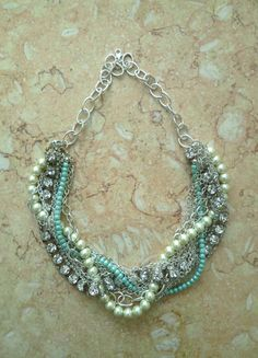 Turquoise Chunky Bridal Necklace Pearl by SukranKirtisJewelry