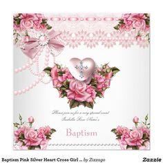 Shop Baptism Pink Silver Heart Cross Girl Rose 5 Invitation created by Zizzago. Baptism Invitations, Invitation Paper, Custom Invitations, Party Invitations, Floral Flowers, White Envelopes, Paper Design, Christening, Pink Roses
