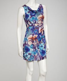 Take a look at this Blue Floral Cowl Sleeveless Dress by Simply Irresistible on #zulily today!