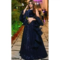 Lehenga Choli : Blue georgette fully sequence work party ...