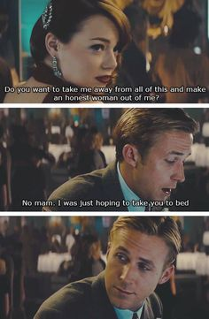 Ryan Gosling and Emma Stone in Gangster Squad laughed when I watched this lol