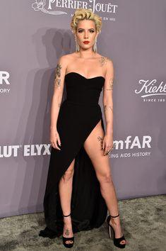 "Halsey: Wore a Georgea Hobeika Spring 2018 black strapless dress with a high slit + Jimmy Choo ""Max"" platform heels | Attending 2018 amfAR Gala New York at Cipriani Wall Street on February 7, 2018 in New York City. - 2018 amfAR Gala New York - Arrivals"