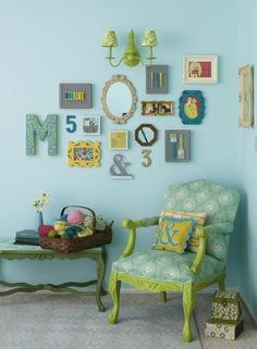 Gallery wall.  Mine would have photos, a fun letter like the M, 2 faux fauna, etc