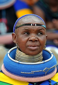 Africa |  Portrait of an Ndebele Woman.  The Ndebele people are located in South Africa and Zimbabwe.