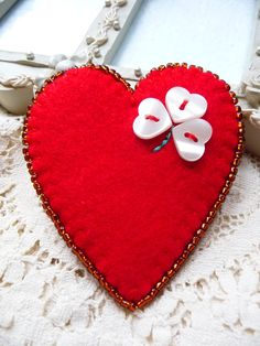 ES401 - valentine's day - Red Heart Shape Felt Brooch With  Four Leaf Clover Button Design via Etsy.