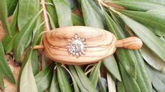 Hand carved Greek Olive Wood hair buckle inlaid by ellenisworkshop, $43.00