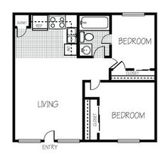 Image result for 600 sq ft living space floor plan 2 bed 1 bath