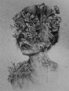 I like this piece of art as it shows how beauty can be combined with decay, it represents that even someone who is beautiful is still getting older, but some have better ways of disguising it than others.