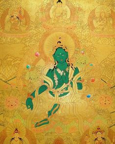 Obstacles can arise from good as well as bad circumstances, but they should never deter or overpower you. ~ HH Dilgo Khyentse Rinpoche Art by Master B. Lama. Golden #Thangka painting of #GreenTara...