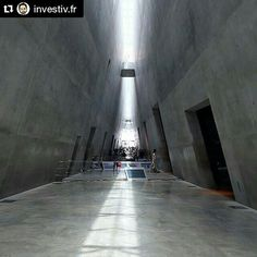 """Yad Vashem Holocaust History Museum. Moshe Safdie, the architect: """"I was determined to cast the entire museum monolithically, jointless, unadorned - without any exterior waterproofing or cladding, nor any interior insulation or finishes. I wanted just the basic structure - concrete walls and floors, and glass to let the light in from above"""" #yadvashem #holocaustmuseum #architecture #moshesafdie"""