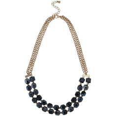 M&Co Navy Cube Necklace ($21) ❤ liked on Polyvore featuring jewelry, necklaces, navy, layered chain necklace, chain jewelry, beaded chain necklace, short necklaces and multi layer chain necklace