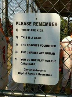 If your child plays a sport, please remember this as a spectator!