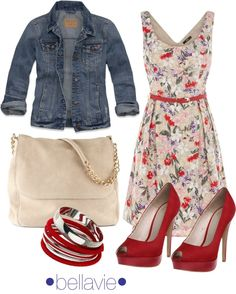 """floral & denim"" by bellaviephotography on Polyvore"