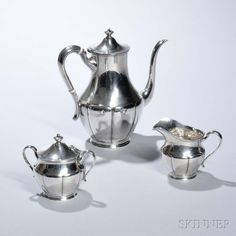 Three-piece Arts and Crafts Sterling Silver Coffee Service.   Auction 2940B   Lot 139   Sold for $1,046