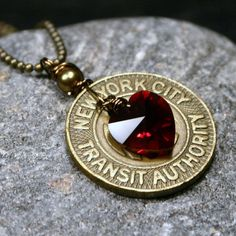 NYC Necklace New York City Vintage Subway Token by walkonthemoon, $32.50