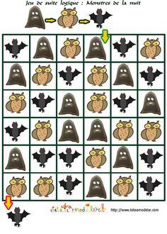 coloriage jeu de suite logique : monstres de la nuit Theme Halloween, Halloween Math, Halloween News, Visual Perception Activities, Christmas Tree Cupcakes, Bricolage Halloween, Parent Gifts, Samhain, Preschool