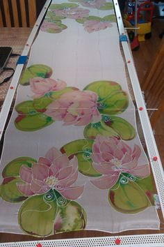 hand painted bespoke silk scarf lotus