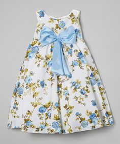 Look what I found on #zulily! Baby Blue Floral Bow Dress - Infant, Toddler & Girls by Kid Fashion #zulilyfinds
