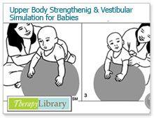 Therapy Library-Upper Body Strengthening and Vestibular Stimulation for Babies Gross Motor Activities, Infant Activities, Educational Activities, Pediatric Occupational Therapy, Pediatric Ot, Physical Development, Baby Development, Summer Reading Program, Brain Gym