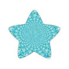 Delicate Blue floral Pattern Star Sticker - wedding stickers unique design cool sticker gift idea marriage party