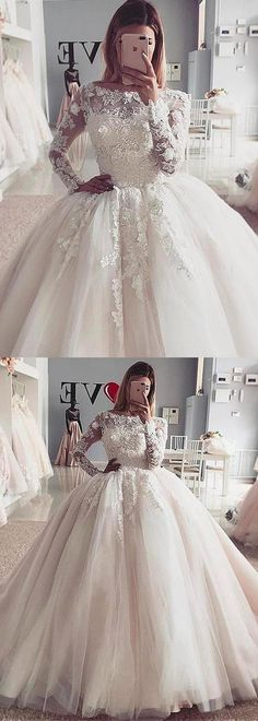 Exquisite Tulle Bateau Neckline Ball Gown Wedding Dress With Lace Appliques & Beadings