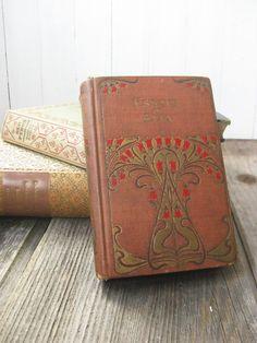 Antiquarian 1901 Book Essays of Elia ART NOUVEAU Red Floral Bud Roses Charles Lamb Fiction 1900s. $22.00, via Etsy.