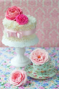 coconut cake with pink roses