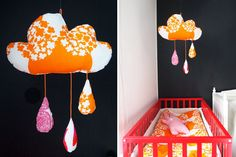 the cloud mobile Sewing Crafts, Diy Crafts, Sewing Ideas, Diy Garland, Garlands, Baby Changing Tables, Cloud Mobile, Make Do And Mend, Cloudy Day