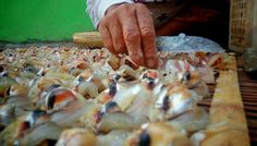 A villager in Kenjeran, Surabaya was peeling fish then salted them ang dry under the sun. The salted fish was sold in markets
