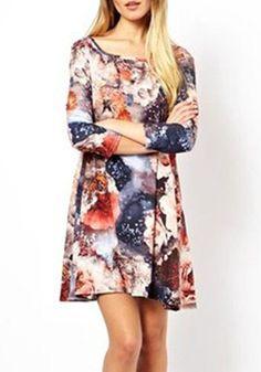 Multicolor Floral Round Neck Above Knee Dacron Dress