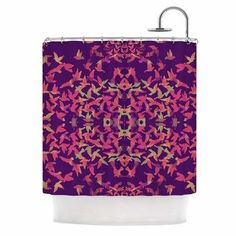 KESS InHouse Flying Birds Sunset by Marianna Tankelevich Abstract Shower Curtain