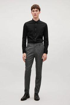 COS image 1 of Wool melange trousers in Dark Grey