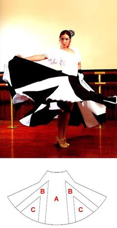 Flamenco dance skirt with double gores