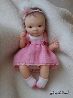 OOAK Handsculpted Baby Girl Art Doll Mini By Gina Holland