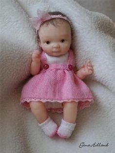 OOAK Handsculpted Baby Girl Art Doll Mini By Gina Holland