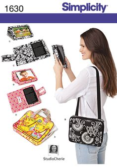 "Simplicity 1630 E-Book Covers & Carry Case for Tablets.    8"" X 10"" carry case fits tablet, with 2 handle options, zipper closure & pockets. 8"" X 5"" E-book readers: C styled for Kindle, D styled for Google Nexus. Covers require purchased E-book reader swivel stand."