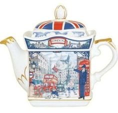 Piccadilly Collectible Teapot - James Sadler Teapots - Roses And Teacups Tea Cup Saucer, Tea Cups, English Teapots, China Teapot, Silver Teapot, Afternoon Tea Parties, Teapots And Cups, Chocolate Pots, Fine China