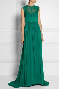 Elie Saab | Stretch silk-blend chiffon gown | NET-A-PORTER.COM