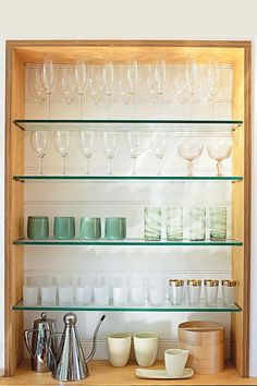 include nice glass shelving in the kitchen design