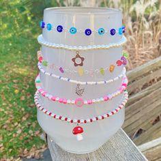 Handmade Wire Jewelry, Diy Crafts Jewelry, Funky Jewelry, Hippie Jewelry, Cute Jewelry, Jewelry Accessories, Beaded Jewelry Designs, Jewelry Patterns, Pulseras Kandi