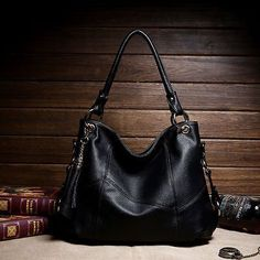 2015 HOT Genuine Leather Women Vintage Shoulder Bag Handbag Messenger Bags #Black - http://leather-handbags-shop.com/2015-hot-genuine-leather-women-vintage-shoulder-bag-handbag-messenger-bags-black/
