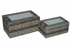 2 Piece Faux Snake Skin Treasure Box Set