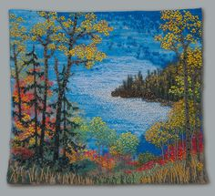 Large photo of Chicago Bay - Jo Wood Jo Wood, Band Kunst, Seed Bead Art, Cross Stitch Landscape, Fabric Postcards, Beads Pictures, Landscape Quilts, Ribbon Art, Sewing Art