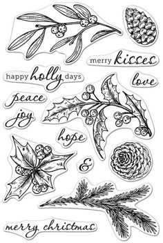 Hero Arts - Clear Stamp - Happy Holly Days