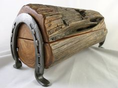Cedar Jewelry or Trinket Box Out of Old Fence Post with Horse Shoe Legs - Made in Texas