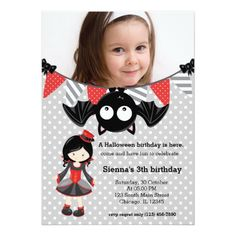 Cute vampire birthday with a photo card
