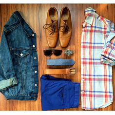 "#outfitgrid Bringing in some of that red, white and blue with a lightweight plaid work shirt and brighter chinos. Nothing says more ""America!"" than the classic and staple denim trucker jacket. A light chambray tie and tan details for that summer vibe."""
